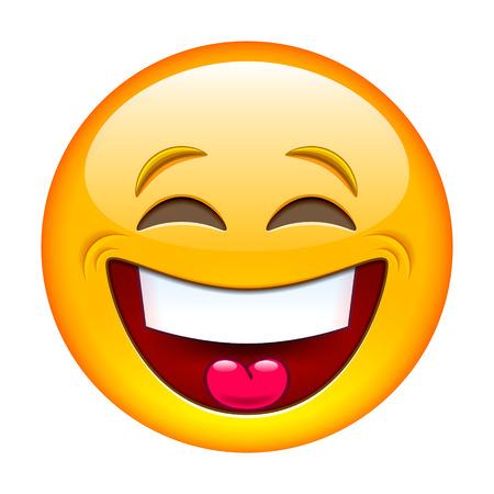 ojos tristes: Riendo emoticon. Ilustración vectorial aislados en fondo blanco
