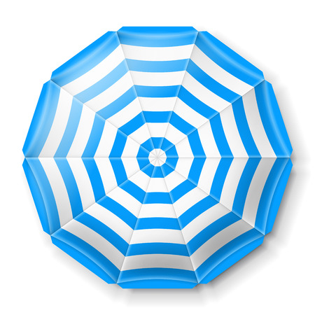 Beach umbrella top view icons, vector illustration
