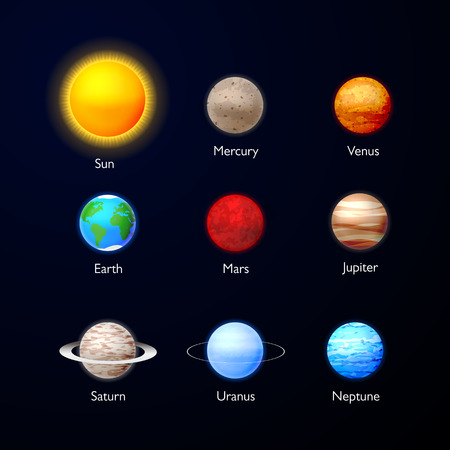 Solar system. Planets icons collection on dark sky. Set of planets