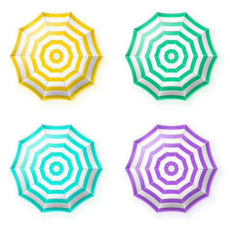 white beach: Beach umbrellas set, top view. Isolated vector illustration .