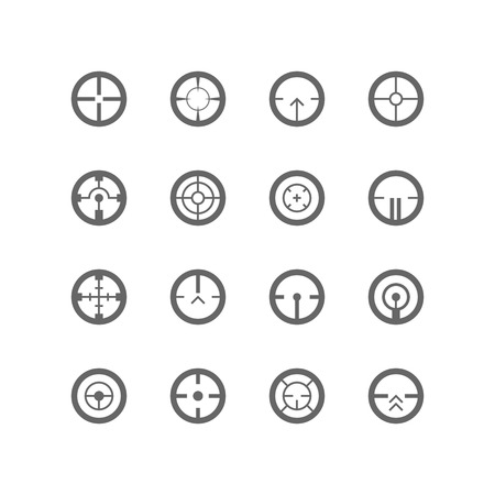 sharpshooter: Crosshairs icon set. Vector illustration on white background. Illustration