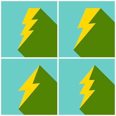 lightning arrow: Set of flat lightning symbols set. Vector illustration.