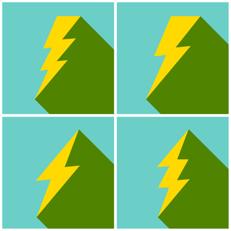 Set of flat lightning symbols set. Vector illustration.