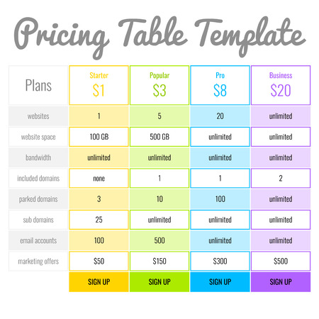 Web Banners Boxes Hosting Plans Or Pricing Table For Your Website
