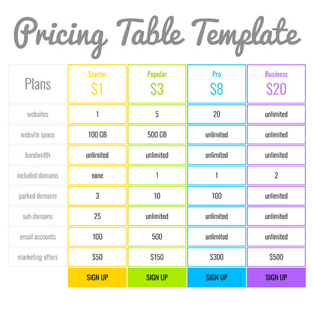 pricing: Web Banners Boxes Hosting Plans Or Pricing Table For Your Website