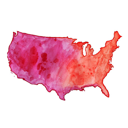 USA red watercolor vector map, US watercolor vector map, United States of America watercolor vector map