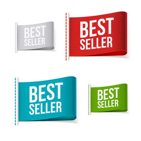 bestseller: Bestseller labels with shadow. Isolated vector illustration. Illustration