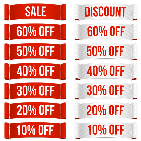 sell off: Discount price labels. Isolated vector illustration on white background. Illustration
