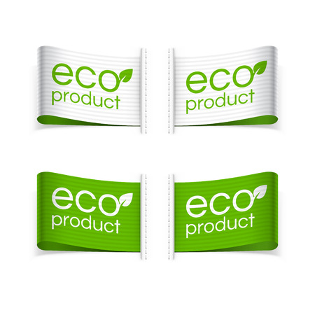 Eco en Eco product labels. Geïsoleerde vector illustratie.