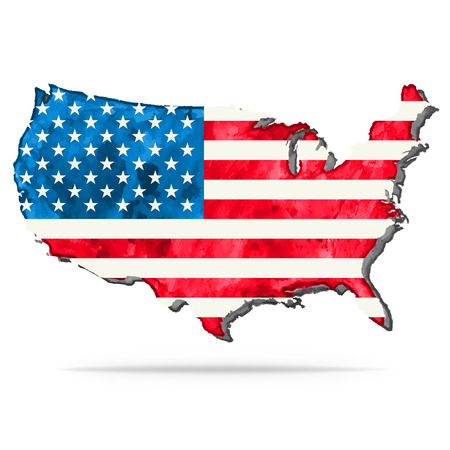 USA watercolor vector map with flag, US watercolor vector map with flag, United States of America watercolor vector map with flag