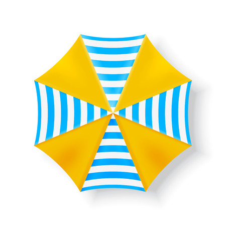 青と黄色のビーチ パラソル。トップ ビュー