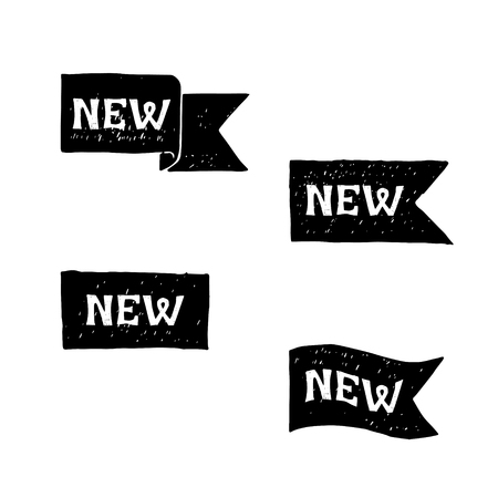 New black labels. Vector.