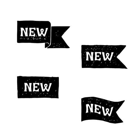 New black labels. Vector.