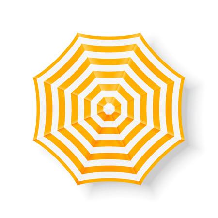 Beach umbrella, top view. Yellow beach umbrella