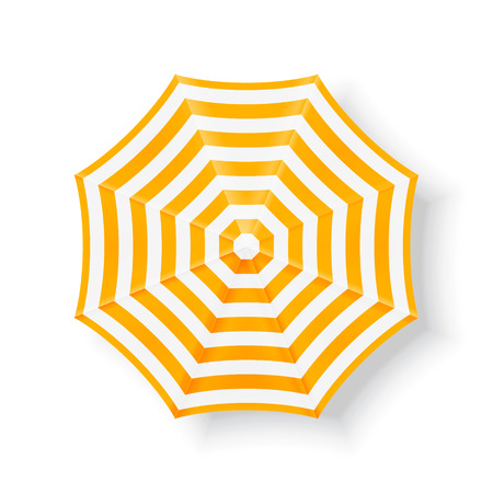 Beach umbrella, top view. Yellow beach umbrella