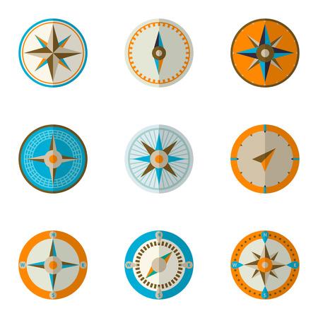 wind rose: Wind rose compass flat vector symbols set