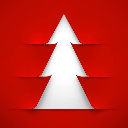 white christmas tree: Abstract White Christmas Tree With Red Cover. Abstract White New Year Tree With Red Cover