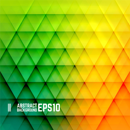 黄色、オレンジ、緑の三角形の背景を抽象化します。ベクトルの図。