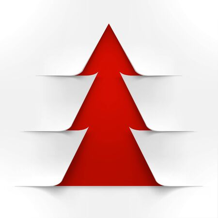 abstract tree: Abstract Red Christmas Tree With White Cover. Abstract Red New Year Tree With White Cover Illustration