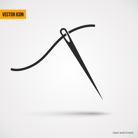 darn: Needle with thread icon.Could use like logo for business or clothing industry. Vector illustration Illustration