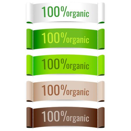 woven label: 100% organic product labels. Vector.