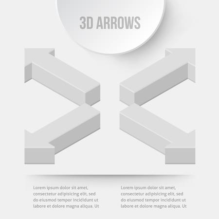 ways: Set of 3D arrows. Four ways. Vector