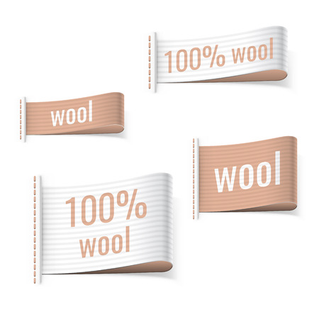 fabric label: 100% wool product clothing brown labels. Wool signs.