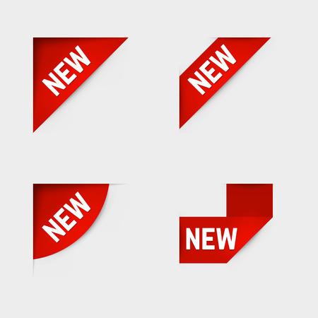 Red corner new labels.  Vettoriali