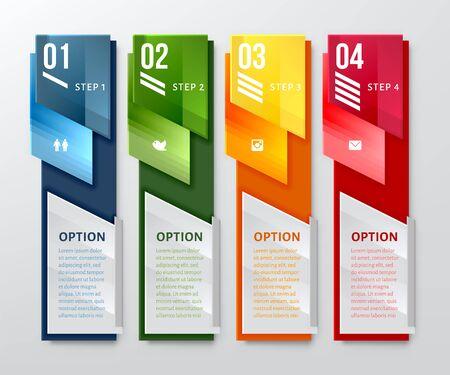 lineas verticales: Diseño vertical plantilla Número de banners. Puede ser utilizado para el diseño del flujo de trabajo, diagrama, opciones numéricas, diseño de páginas web.