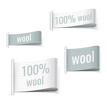 woven label: 100% wool product clothing grey blue labels. Wool signs.  Illustration