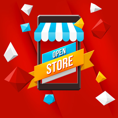 store sign: Online shopping concept with red background. Mobile market .Vector illustration.