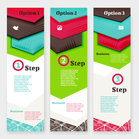 Set of banner design template. Three vertical banners. Colorful design vector elements.