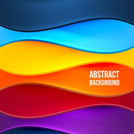 抽象的なカラフルな背景の波。設計テンプレート。ベクトル図