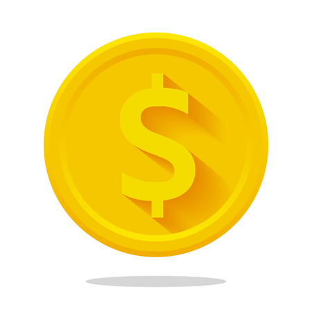 Vector flat dollar coin icon with long shadow on white background