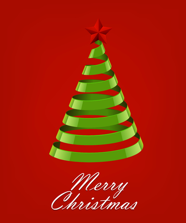 lent: Abstract Ribbon Christmas Tree On Red Background. Abstract Green New Year Tree On Red Background