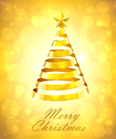 gold tree: Abstract Gold Ribbon Christmas Tree On Gold Background. Abstract Gold New Year Tree On Gold Background Illustration
