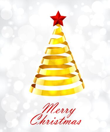 gold tree: Abstract Gold Ribbon Christmas Tree On White Background. Abstract Gold New Year Tree On White Background