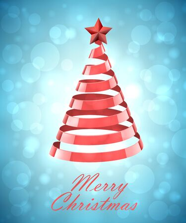 red christmas background: Abstract Red Ribbon Christmas Tree On Blue Background. Abstract Red New Year Tree On Blue Background Illustration