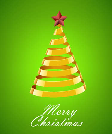 gold tree: Abstract Gold Ribbon Christmas Tree On Green Background. Abstract Gold New Year Tree On Green Background