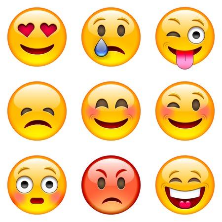 caras de emociones: Conjunto de emoticonos. Conjunto de Emoji. Ilustraci�n vectorial aislados en fondo blanco