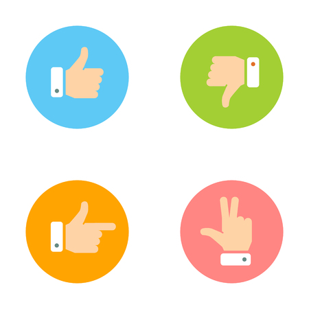 dislike: Thumb Up, Thumb Down, Peace Hand, Forefinger Icons Set. Social Network Vector Icons for App and Website. Like, Dislike Flat Signs.