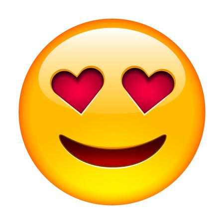 sonriente: Sonrisa en el amor emoticon. Ilustraci�n vectorial aislados en fondo blanco