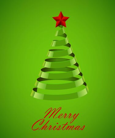 lent: Abstract Green Ribbon Christmas Tree On Green Background. Abstract Green New Year Tree On Green Background