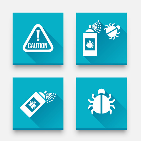 Disinfection icons. Caution attention sign. Insect fumigation spray icon. Vector Set of Bugs Disinfection
