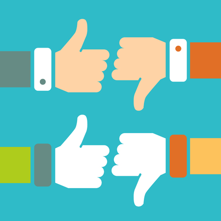 thumb up: Thumb Up and Thumb Down Vector Signs Set in Flat Style. Like and Dislike Flat Signs