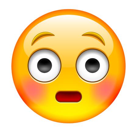 Suprise Emoticon. Wonder Emoticon. Blushed emoticon. Isolated Vector Illustration on White Background