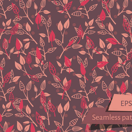 retro dark: Dark Retro Leaves On Branches Seamless Pattern. Two layers of leaves.
