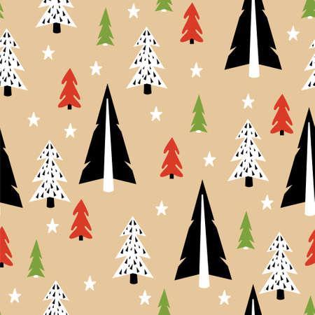 tree texture: Seamless Christmas Tree Pattern. Christmas Texture. New Year Background. Illustration