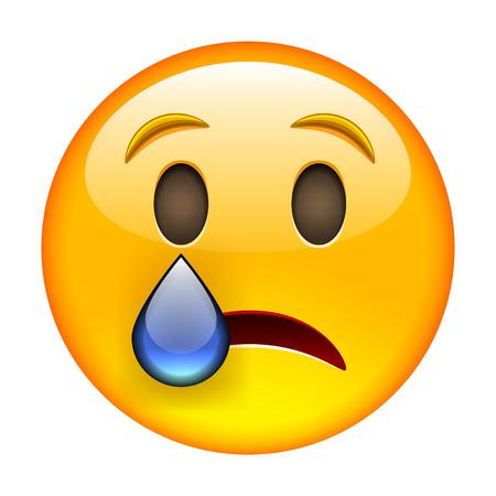 lagrimas: Llorando emoticon. Ilustraci�n vectorial aislados en fondo blanco