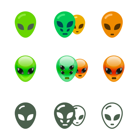 alien: Alien Smiles Set. Alien emoji in different styles